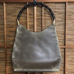 8e9e24409f8 Gucci · Vintage Gucci leather   bamboo handle handbag